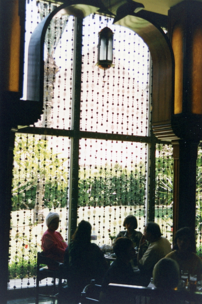 Dining room with the pyramids beyond the bead curtain