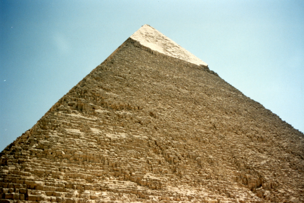Looking up at the still-intact cap of the pyramid of Khafre