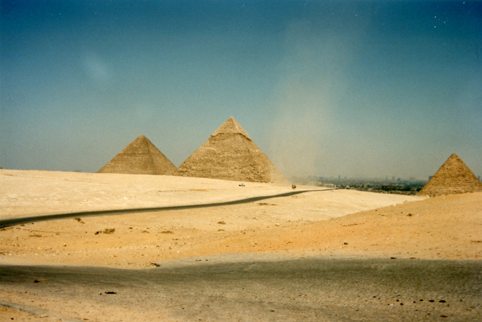 A dust devil roaming around the pyramids