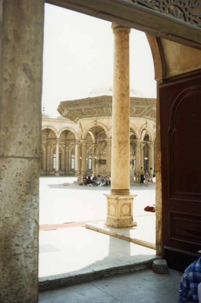 View of the courtyard from inside the mosque