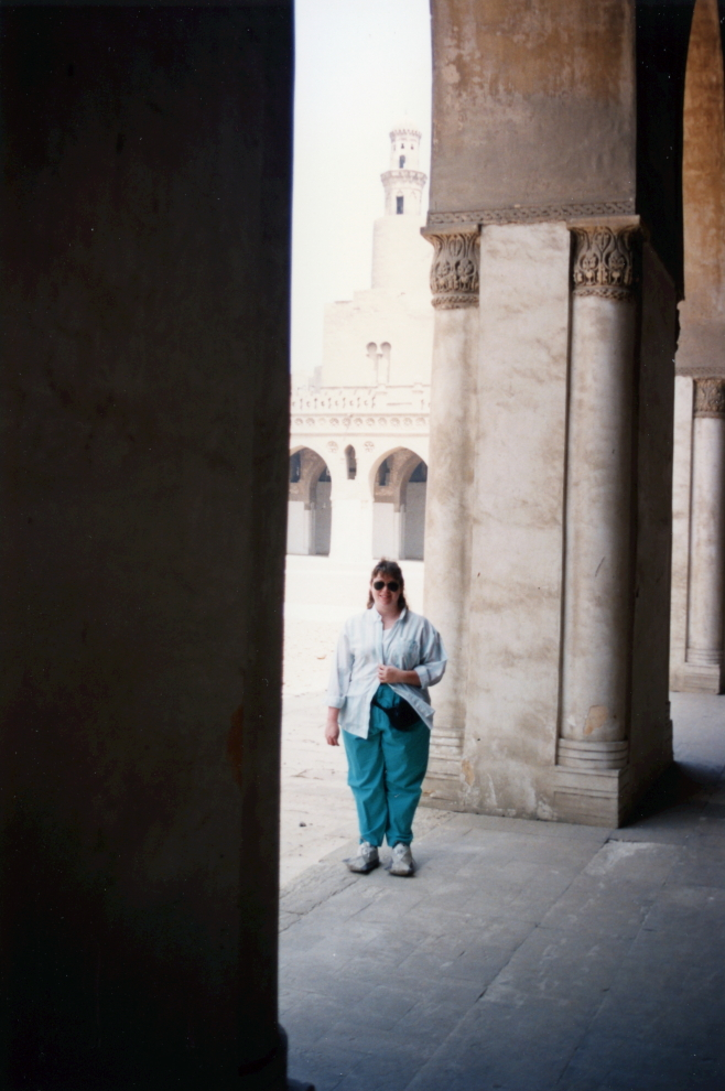 Michelle at Ibn Tulun, wearing the booties one must wear