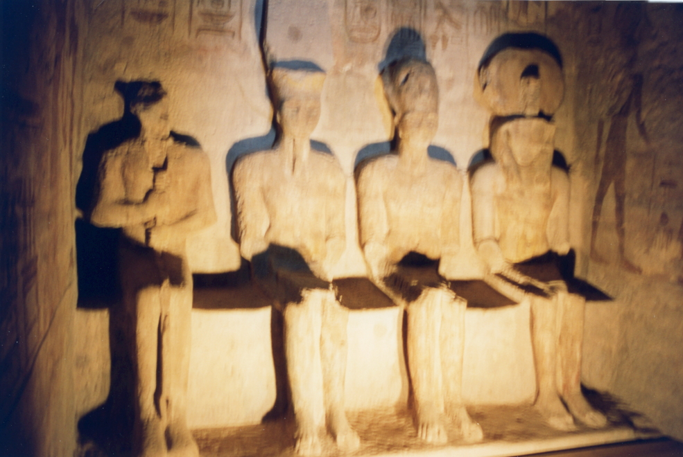 Four statues in the inner chapel of the Temple of Ramses II at Abu Simbel