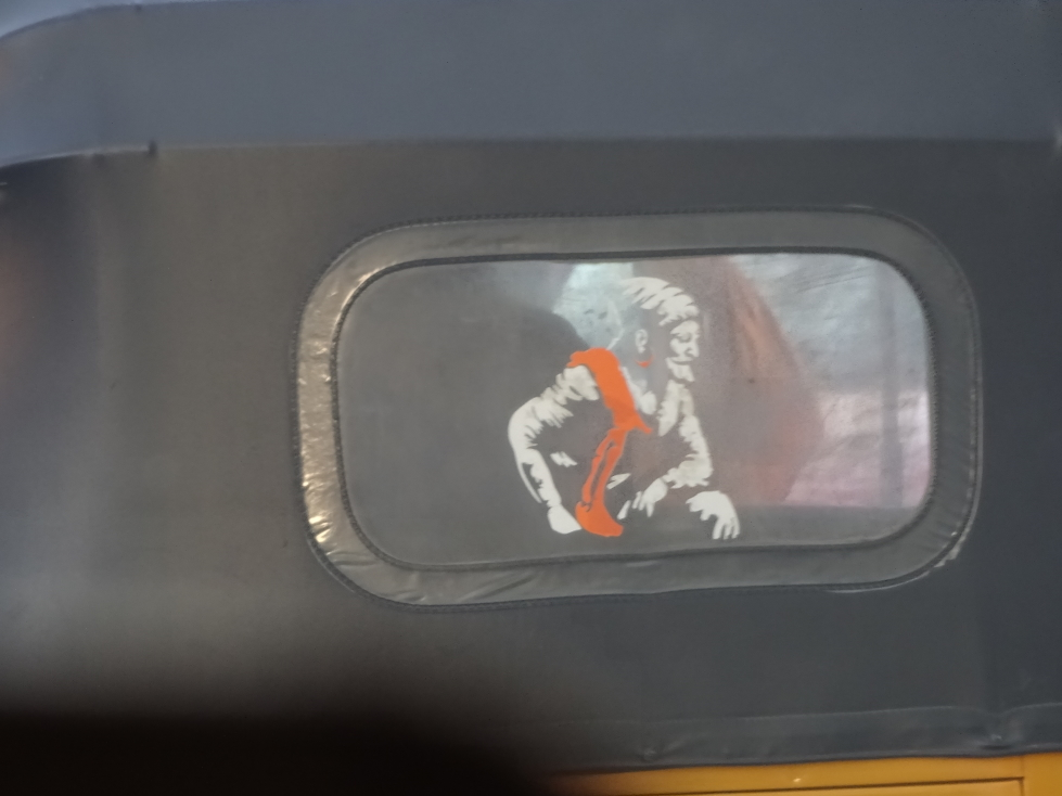 Shivaji decal on the back of a car