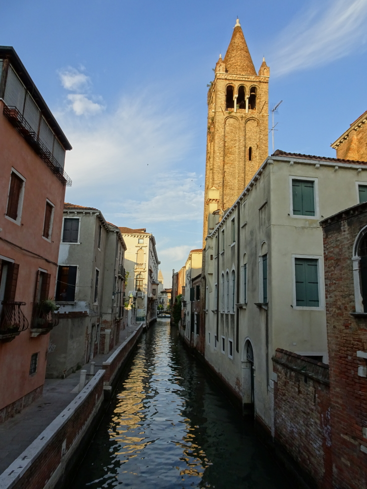 Small canal and a cool looking tower