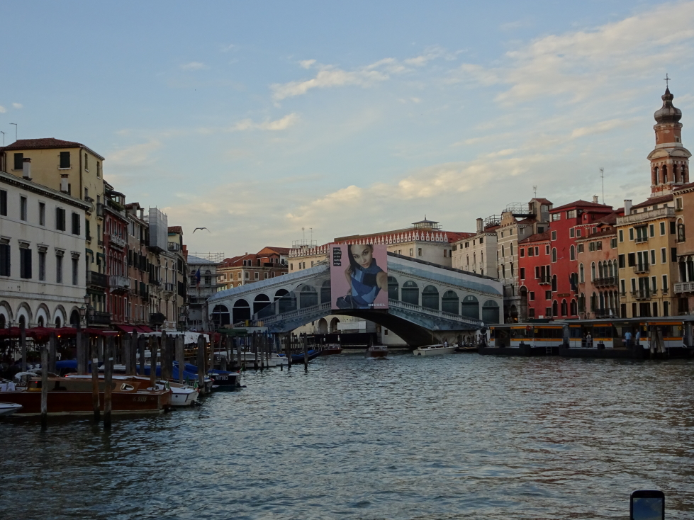 Ponte di Rialto, covered in tarp and plastered with a hideous ad