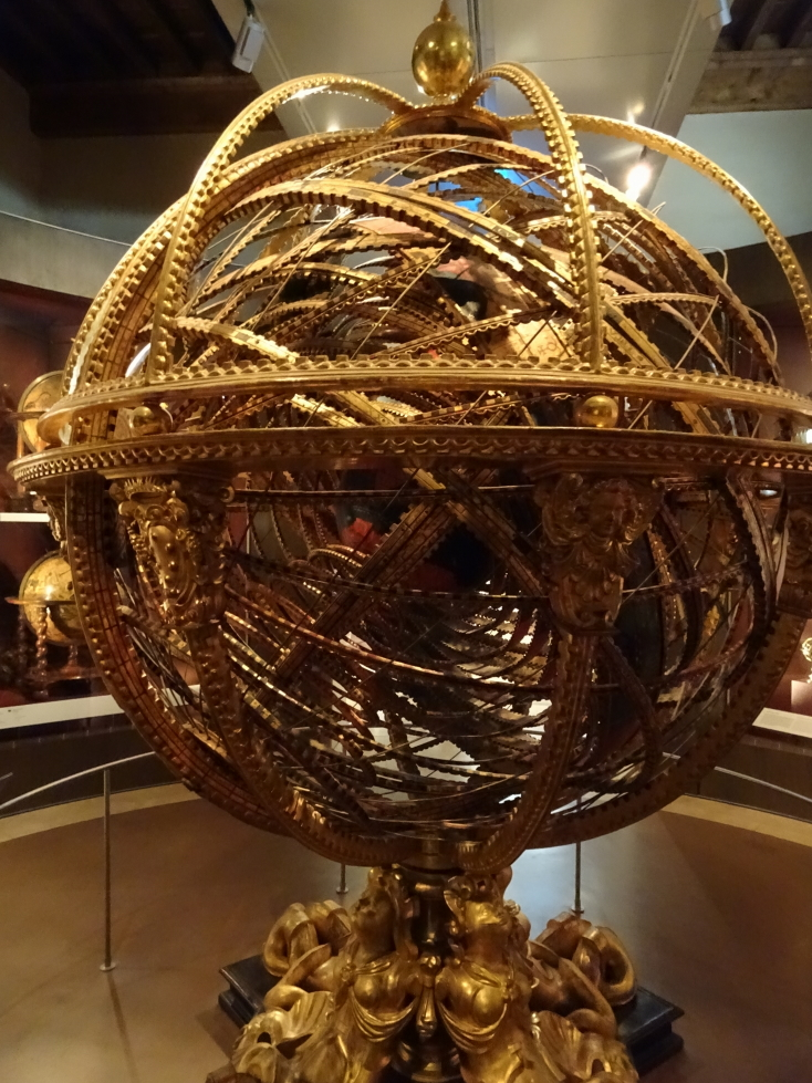 Armillary sphere constructed in 1593 depicting the Earth as the center of the universe (oops)