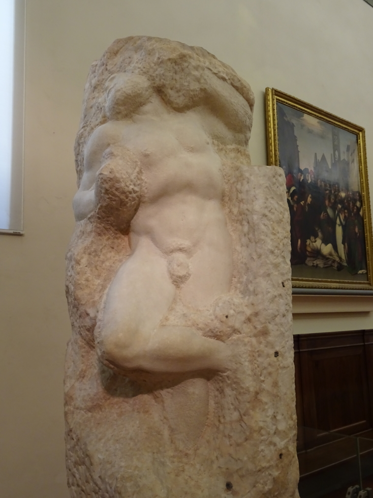 One of the Prisoners, an unfinished sculpture by Michelangelo