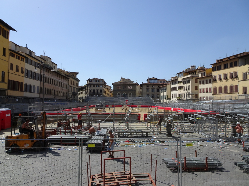 Jousting grounds being torn down in front of Santa Croce