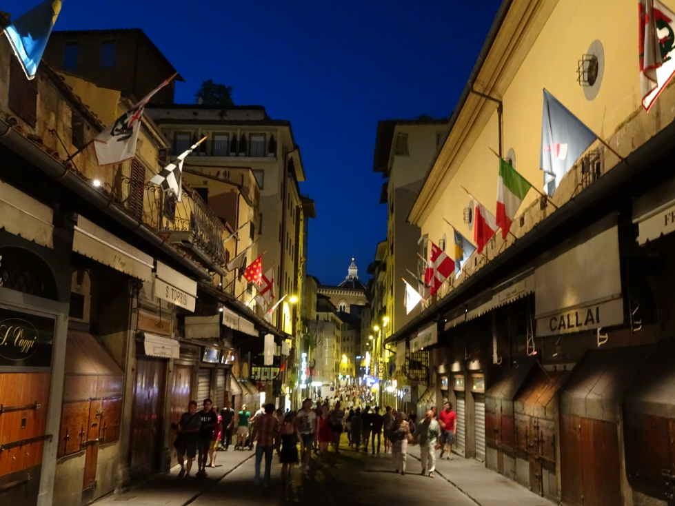 Ponte Vecchio at night, note the closed store coverings