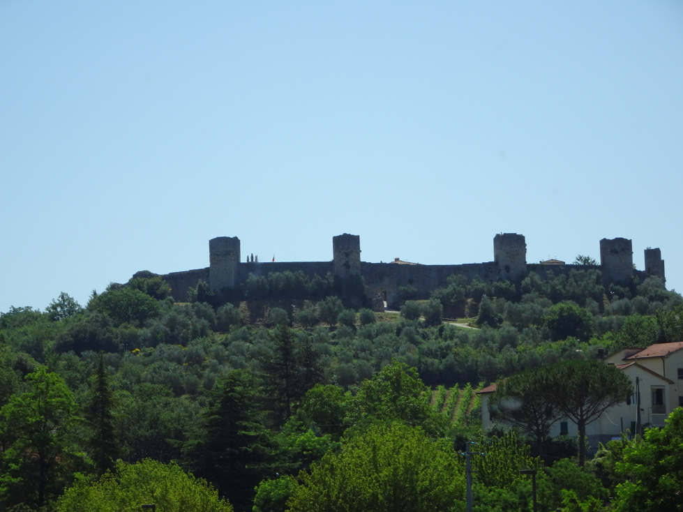 View of Monteriggioni's walls from below the town