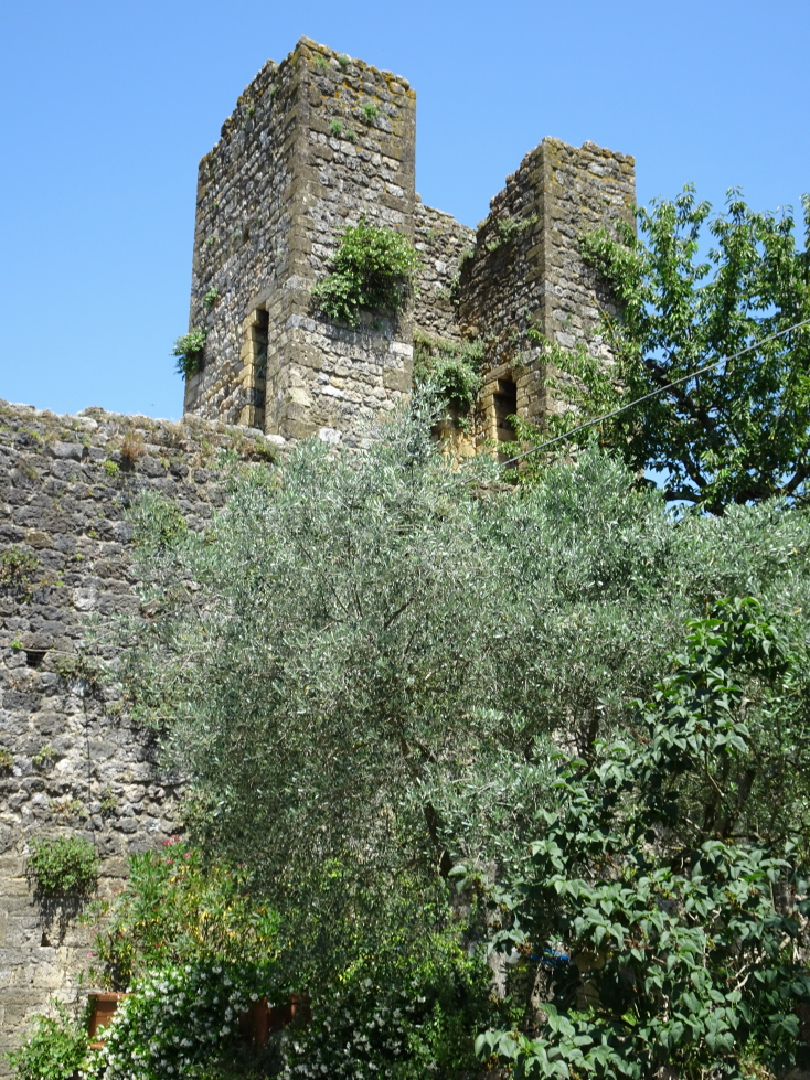 One of Monteriggioni's ruined wall towers