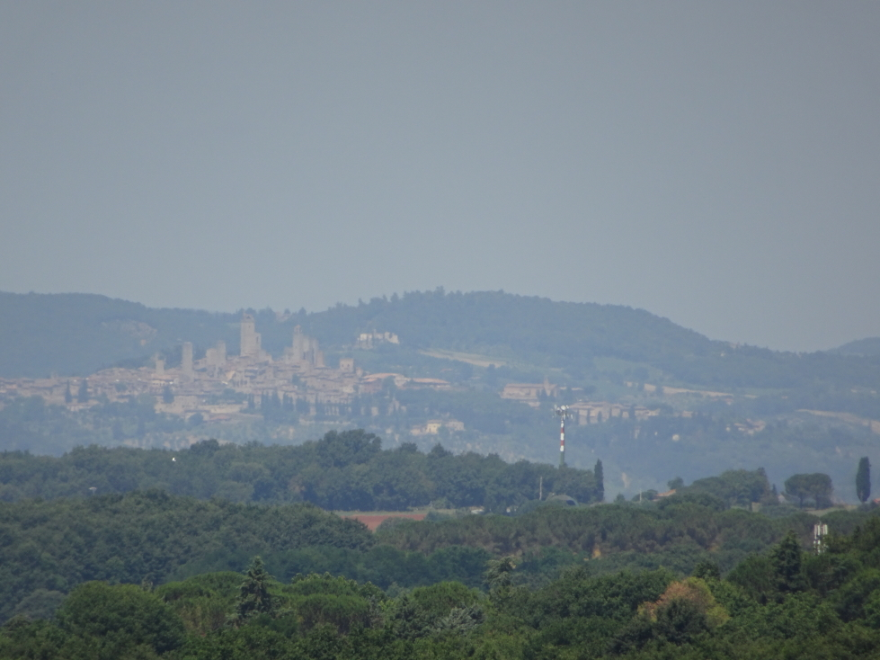 San Gimignano off in the distance as seen from Monteriggioni's walls