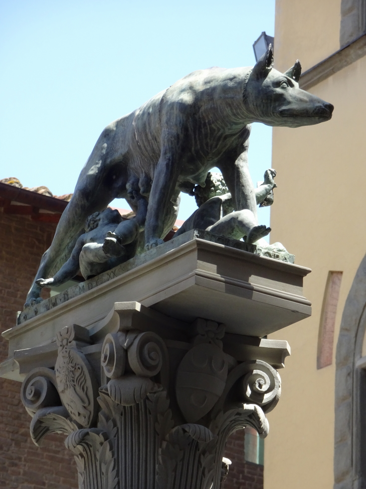 A statue of Romulus and Remus and the She-Wolf in Siena