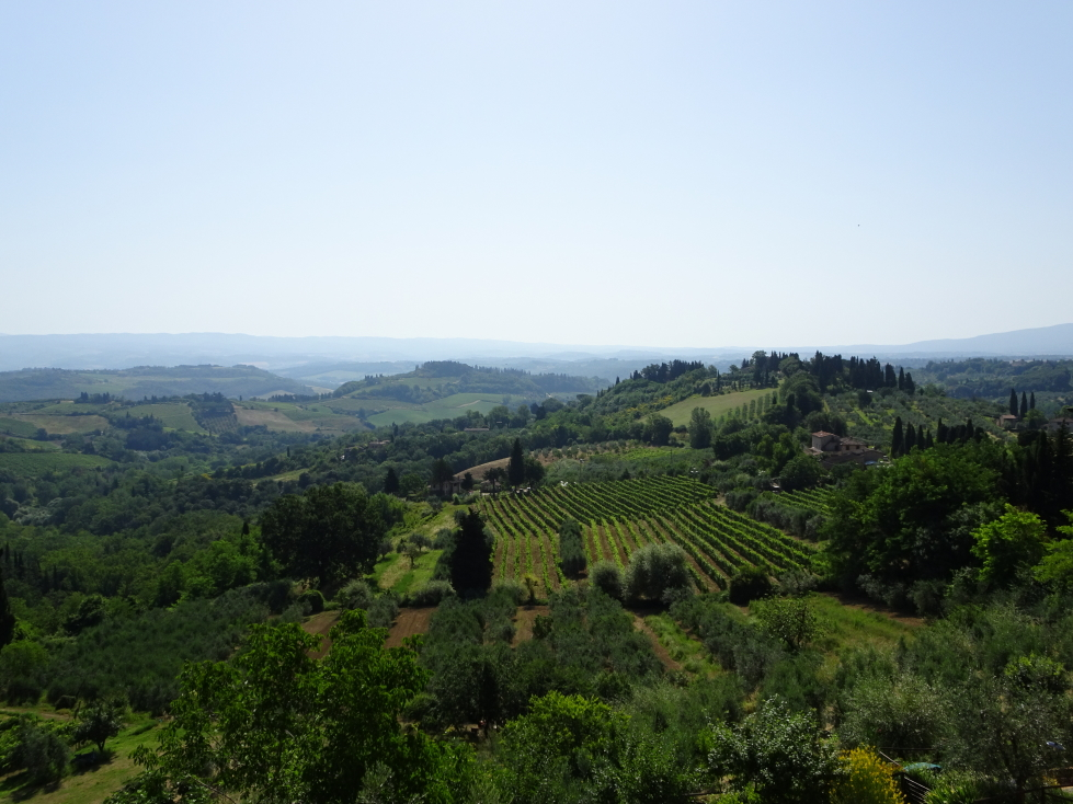View of the Tuscany countryside from just outside San Gimignano
