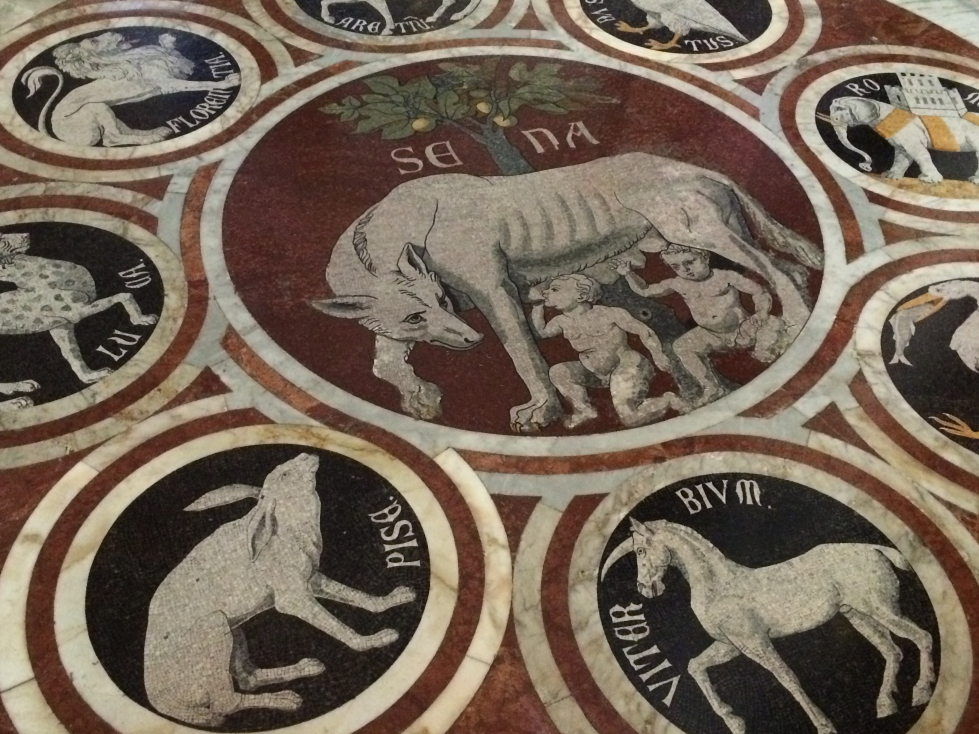 Cool floor design with Siena and the surrounding towns and their associated animals