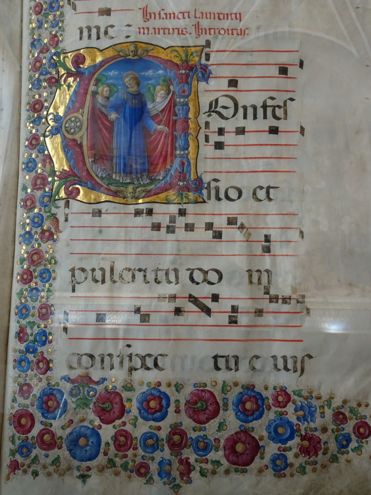 A music book on display in the library