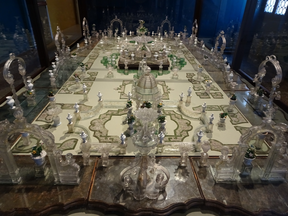 Glass sales diorama the size of a dining room table