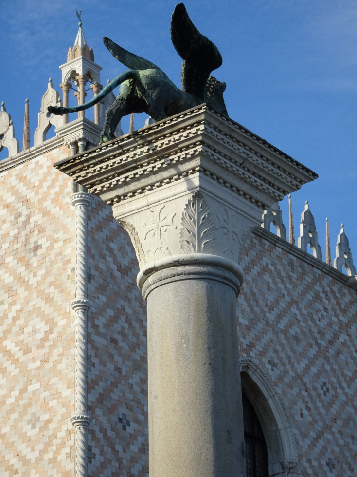Column with winged lion atop near the Doge's Palace