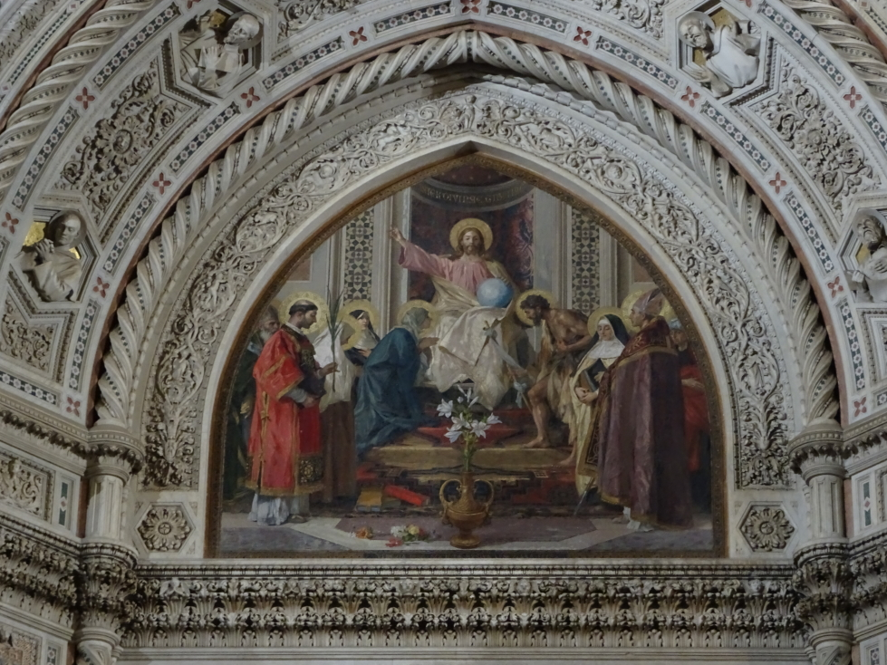 Painting on the Duomo's exterior