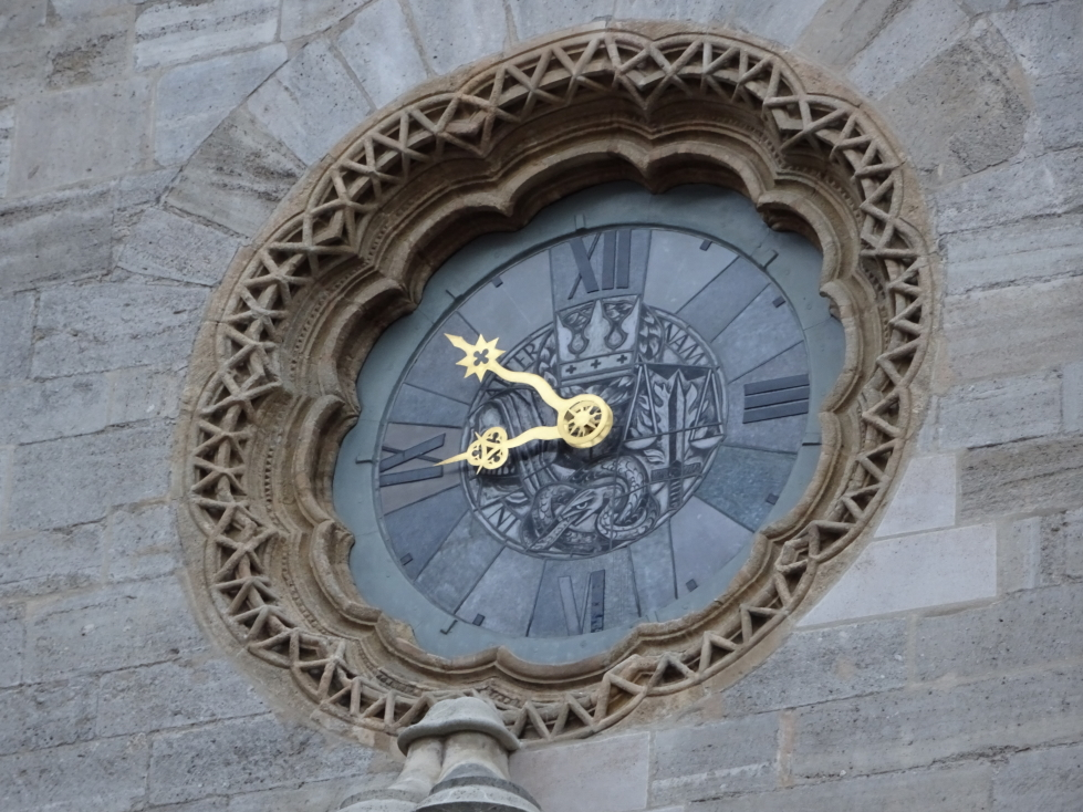 Interesting clock at St. Stephen's Cathedral