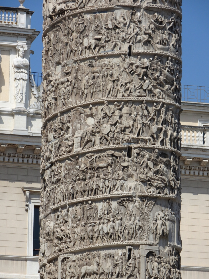 Detail of the column, note the slits giving light and air to the stairs within
