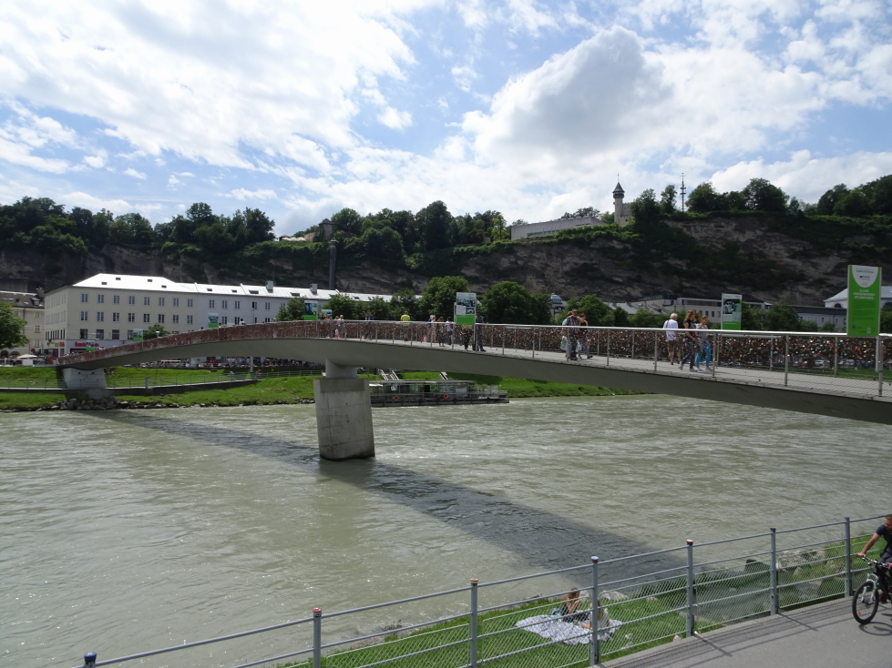 Makartsteg pedestrian bridge over the Salzach river in Salzburg