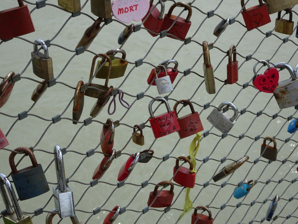 Lovers' locks on Makartsteg pedestrian bridge