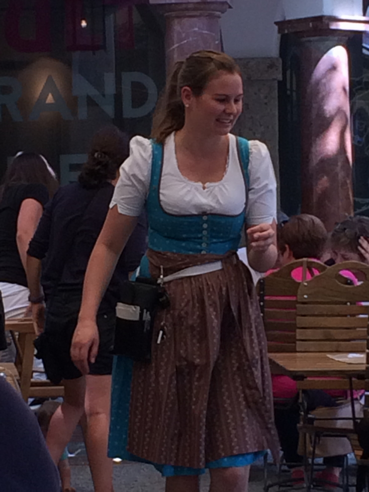Biergarten waitress in traditional dress