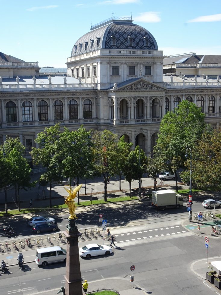 Square in front of the University of Vienna as seen from the Beethoven museum