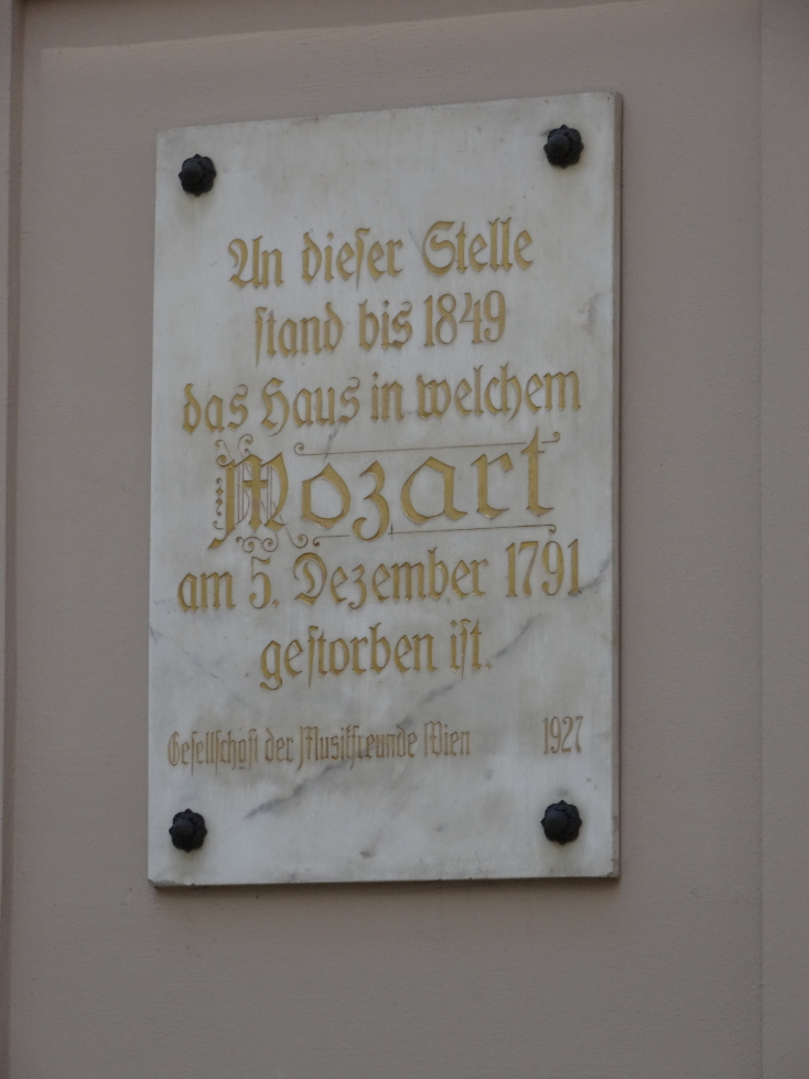 Plaque marking where Mozart-Sterbehaus once stood, the place where he died in 1791