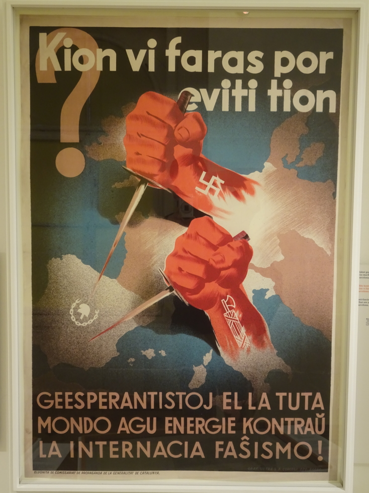 An Esperanto poster speaking out against Fascism in the 30s