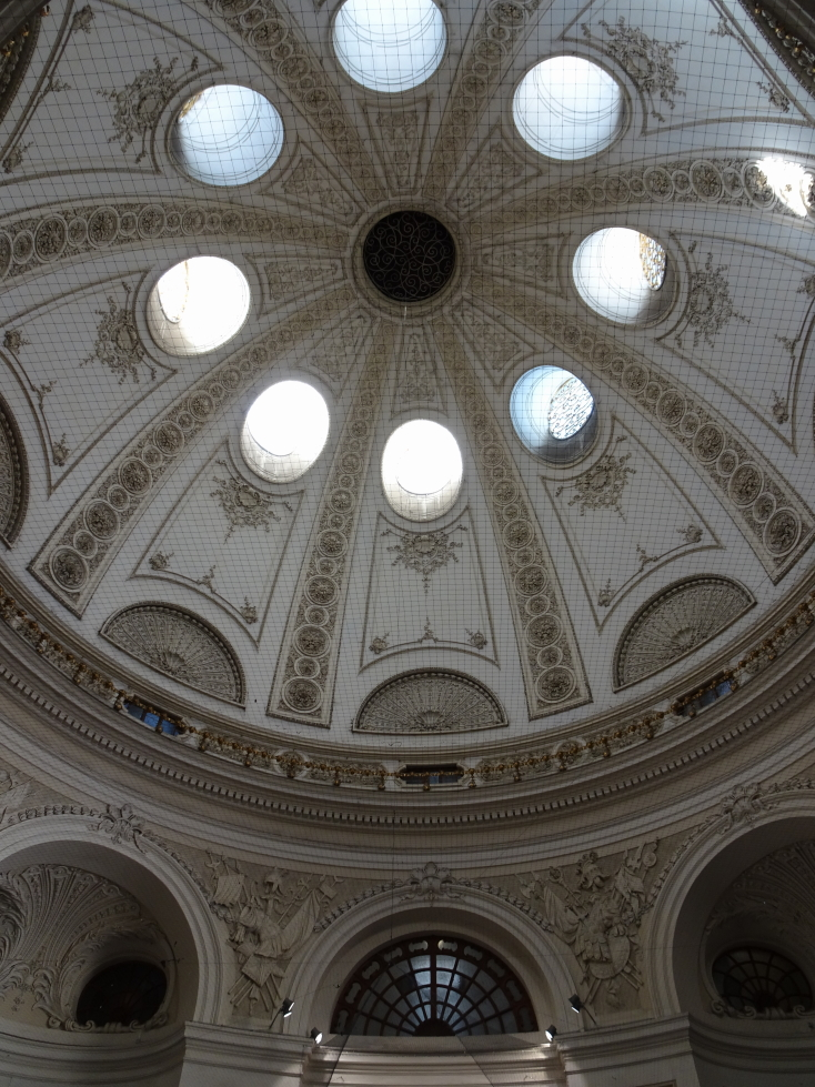 Interior of the dome in Hofburg Palace -- the netting is to keep the birds away