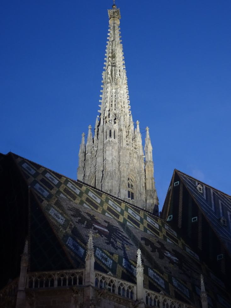 St. Stephen's Cathedral's spire lit at night