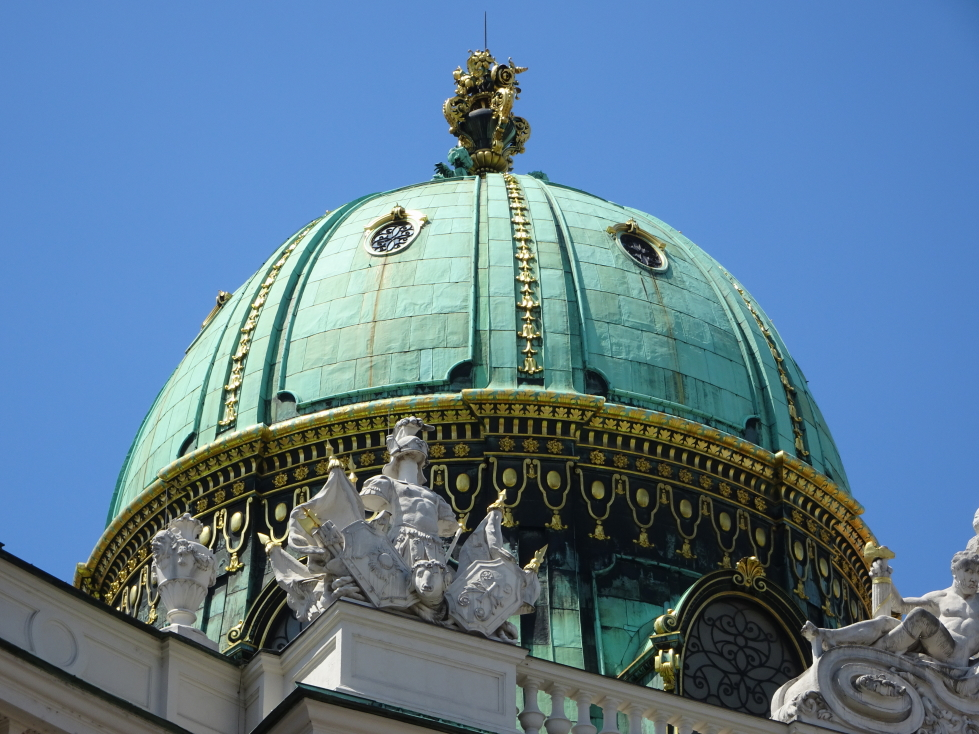 Closeup of the dome atop the entrance to Hofburg