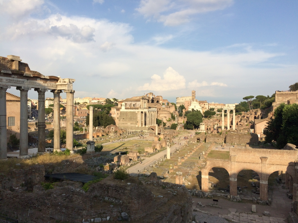 View of the Roman Forum looking toward the Colosseum