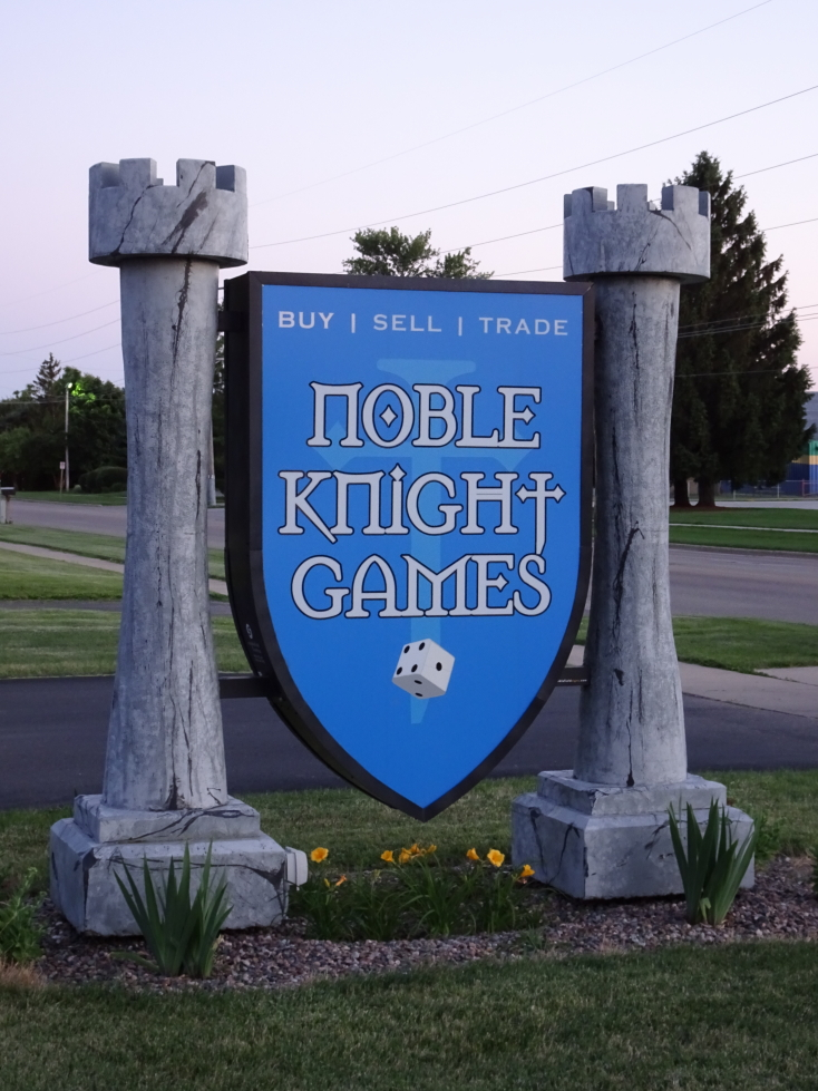 Sign for Noble Knight Games of Janeville, Wisconsin