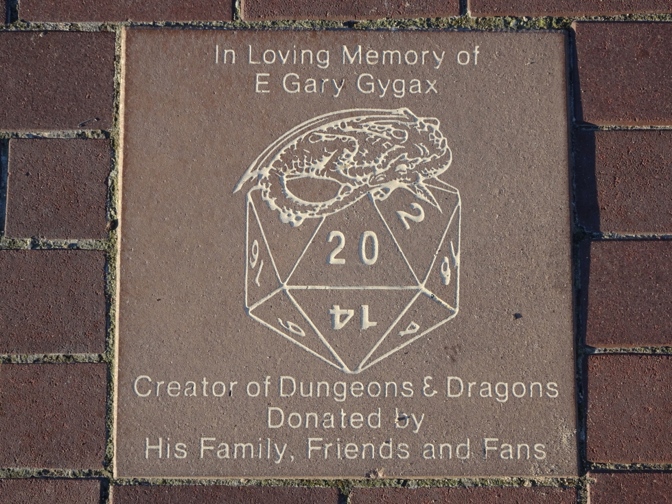 Plaque dedicated to the memory of E. Gary Gygax, creator of D&D
