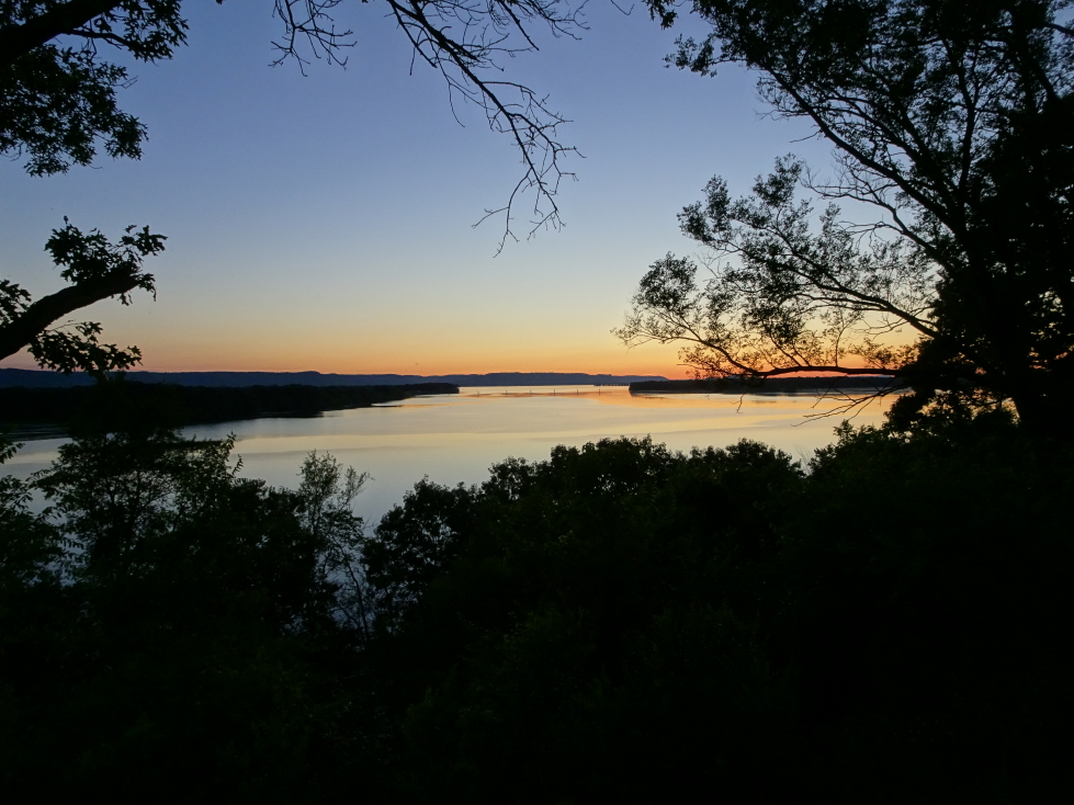 Sunset over the Mississippi near La Crosse, Wisconsin
