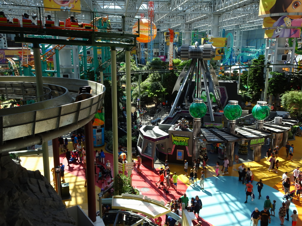 Nickelodeon Universe, complete with roller coaster and log flume
